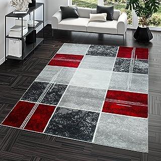 comprar comparacion T&T Design Alfombra De Salón Moderna Económica Diseño Cuadros En Gris Rojo Al Mejor Precio, Größe:160x220 cm