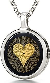 I Love You Necklace 24k Gold Inscribed in 120 Languages Including Braille and Sign Language in Miniature Text onto a Round Black Onyx Gemstone Pendant, 18