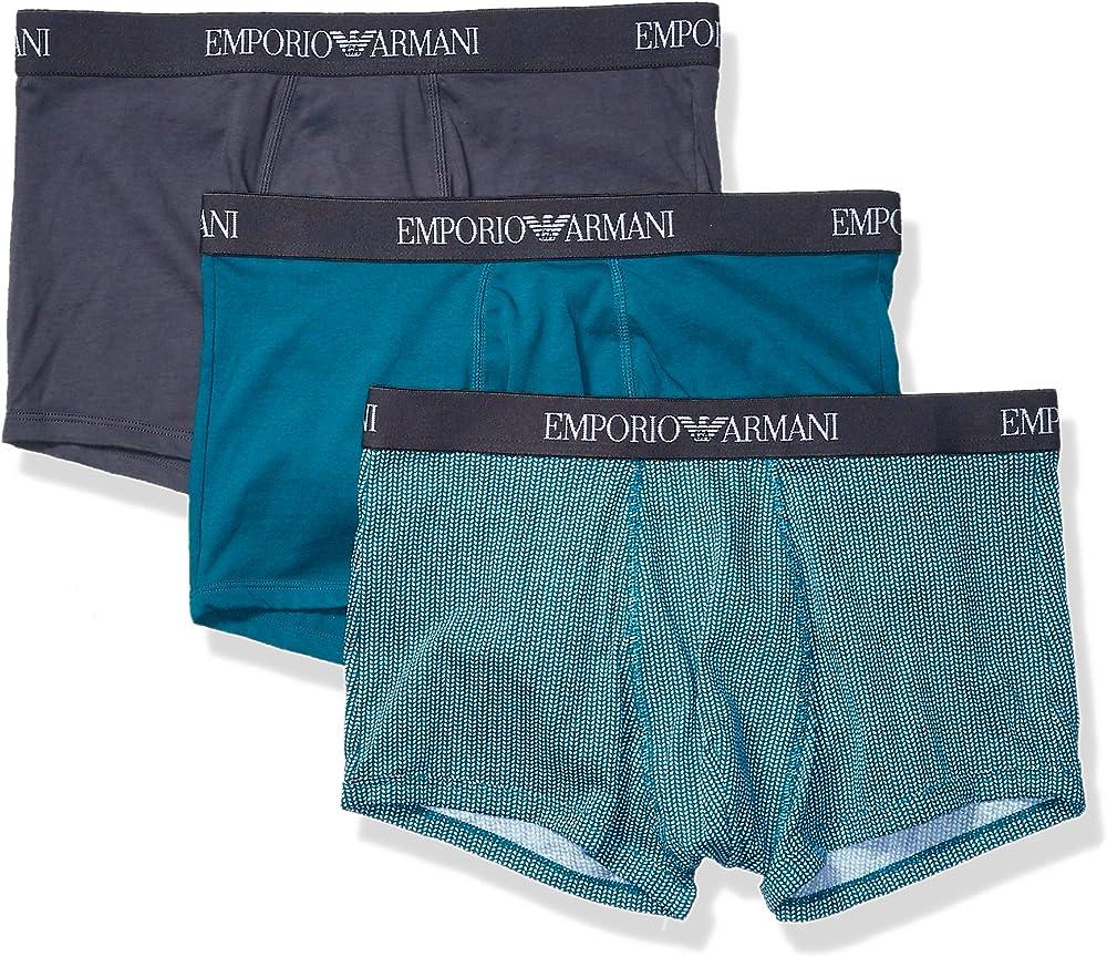 Emporio armani,mutandine,boxer per uomo,pacco da 3,100% cotone 111610CC722165102