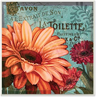 Stupell Home Décor Colorful Daisies with Antique French Backdrop Wall Plaque Art, 12 x 0.5 x 12, Proudly Made in USA