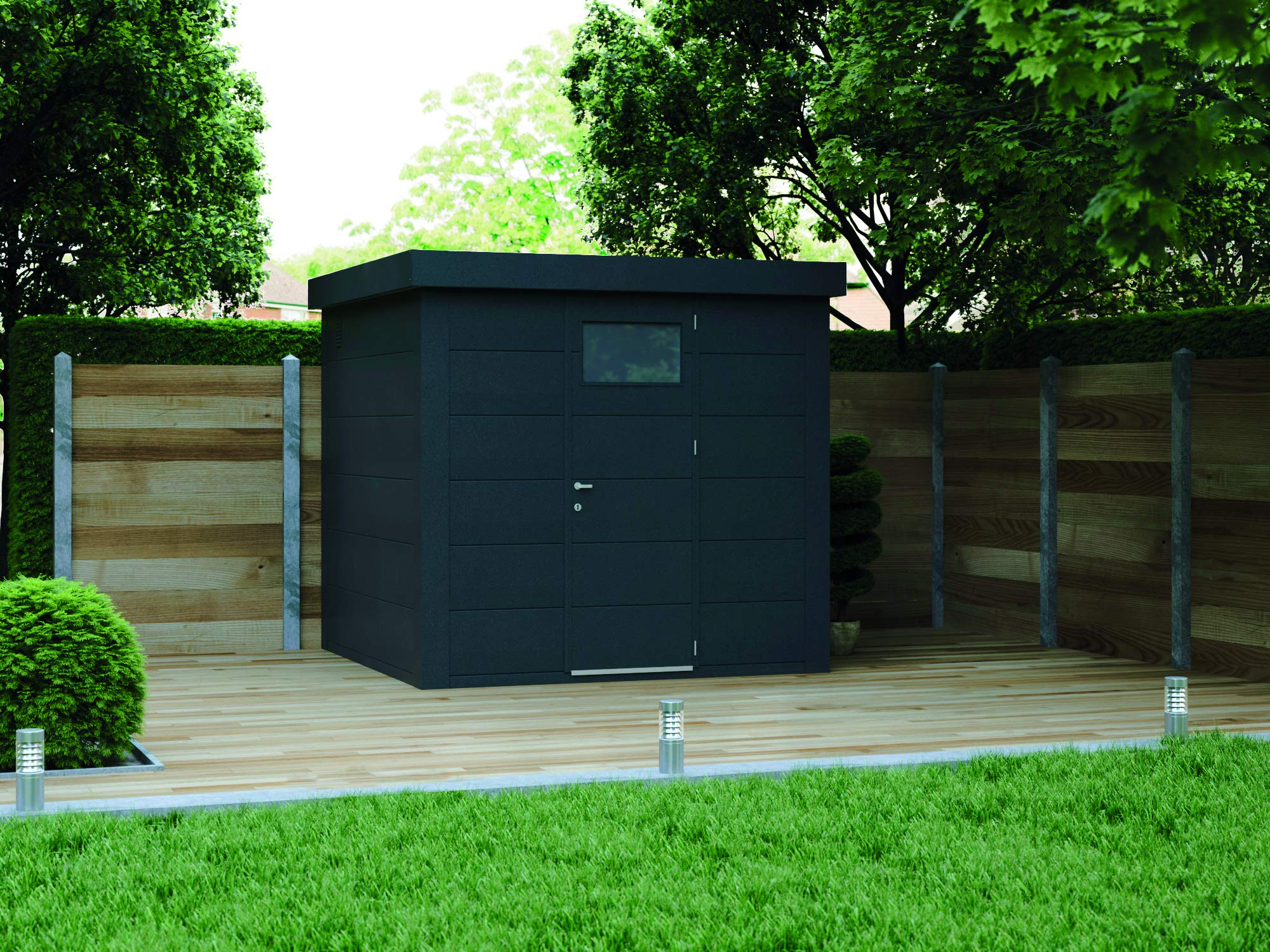 NOVO HABITAT Caseta de Jardin metálica NH4 | Antracita | 238 x 238: Amazon.es: Jardín