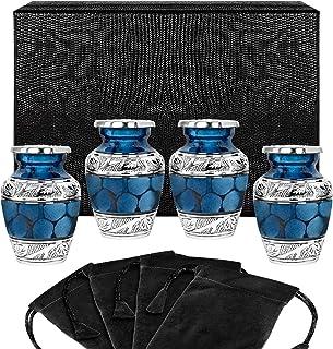Heavenly Peace Dark Blue Small Keepsake Urns for Human Ashes - Set of 4 - Beautiful Mini Keepsake Sharing Urns to Honor Yo...