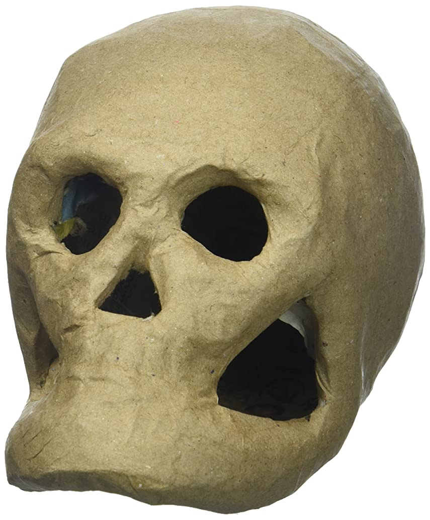 Darice SS-DAR-2876-35 2876-35 3-D Paper Mache Skull - 5.5 inch Natural