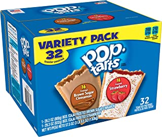 Kellogg's Pop-Tarts Variety Pack - Toaster Pastries for Kids, Frosted Brown Sugar Cinnamon and Frosted Strawberry (32 Count)