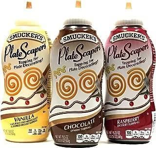 Smucker's PlateScrapers Plate Decorating Dessert Topping (Raspberry, Vanilla, Chocolate) 19.5oz | 3 Packs
