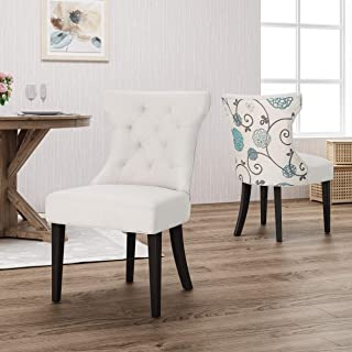 Christopher Knight Home Patty Traditional Two Toned Fabric Dining Chair, Ivory and White/Blue Floral
