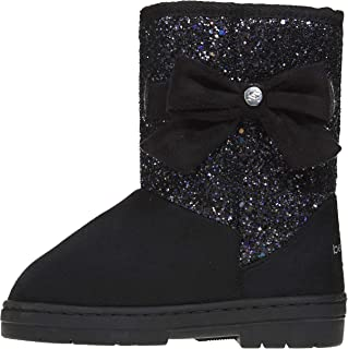 Girls Glitter Winter Boots with Side Bow Casual Dress Warm Slip-On Shoes