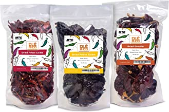 Best Dried Chile Peppers 3 Pack Bundle (12 oz Total) - Ancho, Guajillo, and Arbol - The Holy Trinity of Chiles - Great For Mexican Recipes - Packaged In Resealable Bags By Ole Rico Reviews