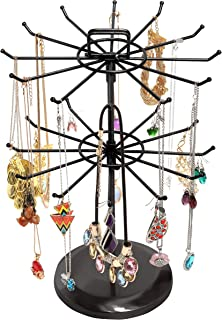 MyGift Black Metal Jewelry Organizer Tower Necklace Tree Bracelet Display Stand w/Hairclip Holder