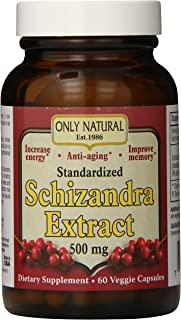 Only Natural Nutritional Veggie Capsules, Schizandra Extract, 500 mg, 60 Count