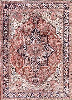 Rug Source One-of-A-Kind Heriz Serapi Handmade 9x12 Orange Wool Antique Persian Oriental Area Rug (12' 3