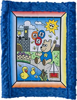 All Inclusive Baby Quilt Kit, Boy Bear w/ blue super soft Cuddle Dimple