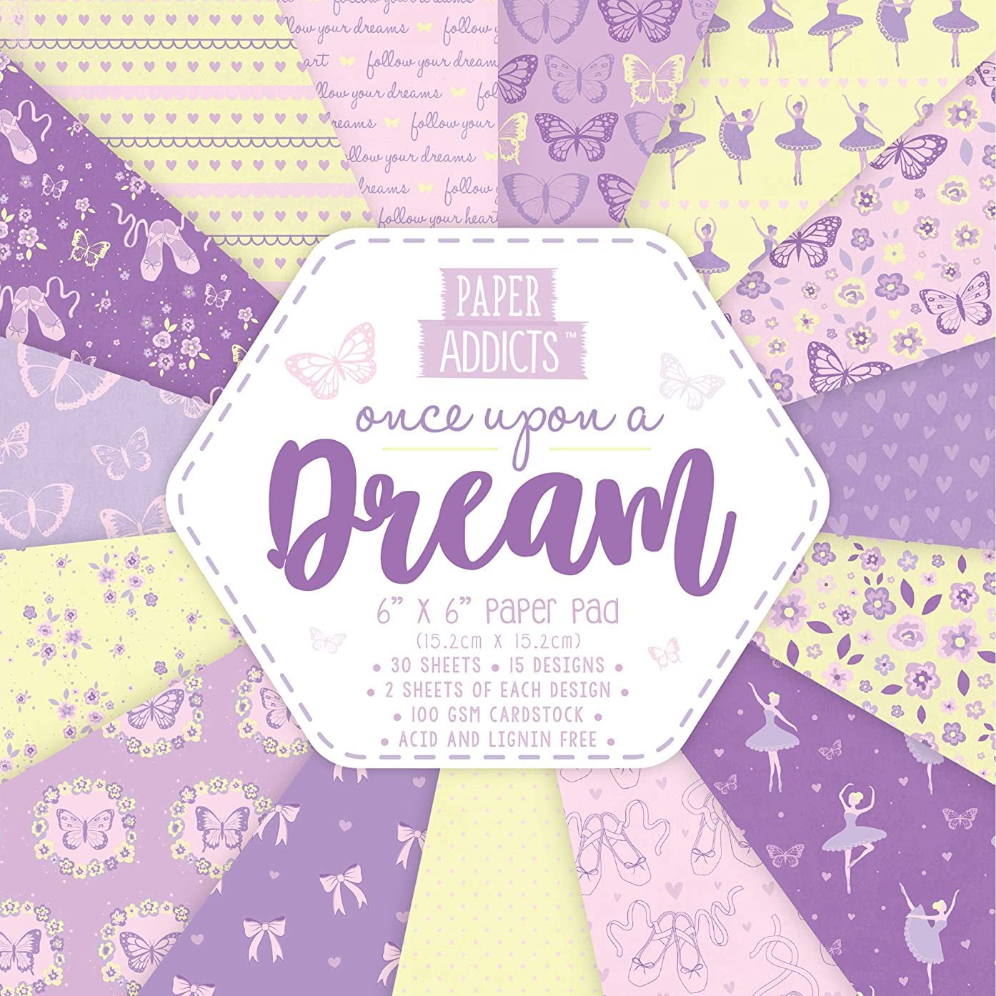 Paper Addicts Upon A Dream Paper Pad-30 Sheets-15 Designs-100GSM-Acid & Lignin Free-for Card Making, Papercraft, Scrapbooking, Die Cutting and Home Décor, Multicolour, 6