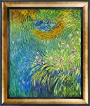 """La Pastiche Irises 3, 1914-1917 with Gold Luminoso and Black Custom Stacked Framed Oil Painting, 29.5"""" x 25.5"""", Multi-Color"""