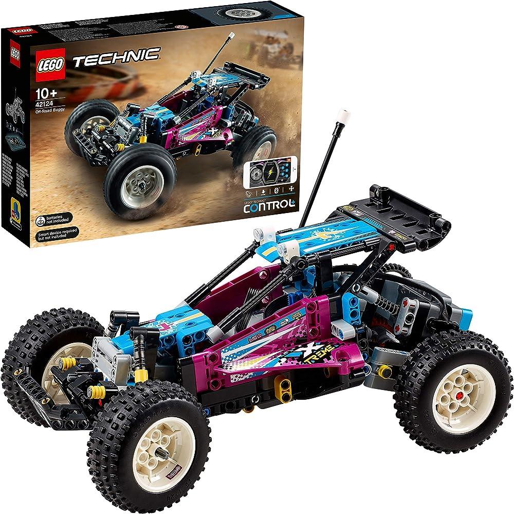 Lego technic buggy fuoristrada rc, macchinina telecomandata con control+ app , per bambini 42124