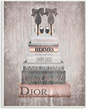 The Stupell Home Décor Collection agp-118_wd_10x15 Book Stack Heels Metallic Pink