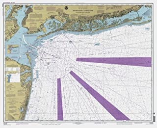 Map - Approaches To New York - Fire Island Light To Sea Girt, 2000 Nautical NOAA Chart - New Jersey, New York (NJ, NY) - Vintage Wall Art - 44in x 36in