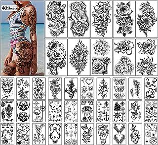Tijdelijke tatoeages 40 vellen grote bloemen nep tattoo collectie waterdichte tijdelijke stickers voor kinderen vrouwen of...