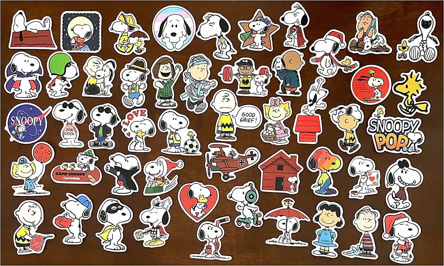 Beagle Dog -1 Decal Non-Repeating, 50 pcs Peanuts Vinyl Stickers for Hydro Flask Water Bottles Laptop Computer Skateboard Car Bumper Waterproof Decals for Kids Adult Teens Girls Boys…