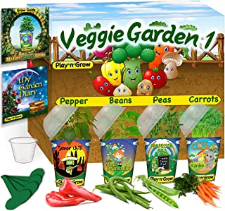Children's Organic 4 Plant Kit -Pre-Seeded Vegetable Window Garden: Four Complete Grow Sets - Seeds, Soil, Planter, Greenhouse Dome, Water Tray & Cup, Growing Guide, Diary. DIY Kid's Gift.
