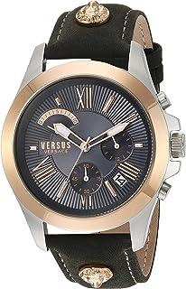 Versus by Versace Men's Chrono Lion Extension Gold Quartz Watch with Leather Calfskin Strap, Grey, 125 (Model: VSPBH1218
