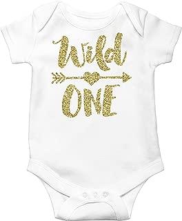Wild One Gold Glitter Girls 1st Birthday Bodysuit First Birthday Outfit Girl