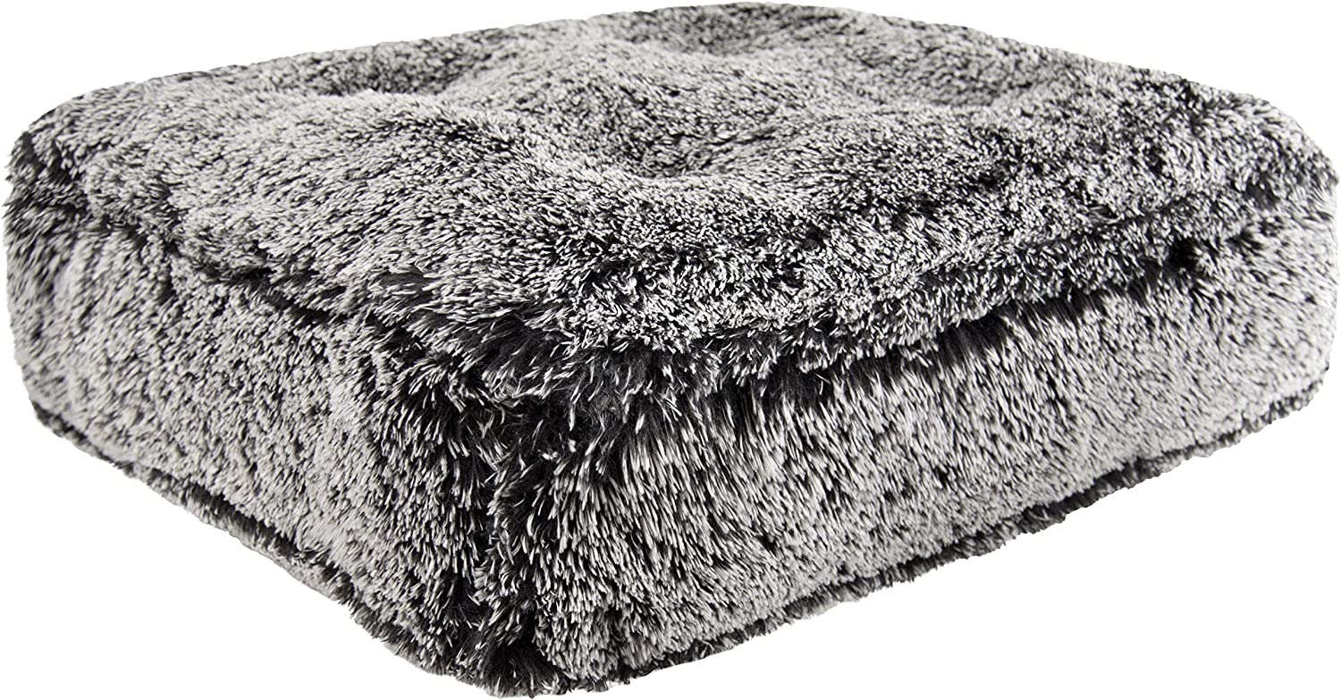 BESSIE AND BARNIE Midnight Frost Extra Plush Shag Faux Fur Sicilian Rectangle Pet Dog Bed (Multiple Sizes)