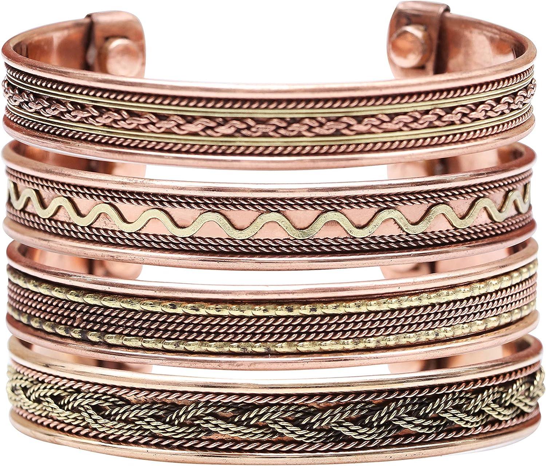 ZAICUS Tibetan Healing Copper Adjustable Bracelet Women's Men's Yoga Office Indian Spiritual Jewellery Good Luck EMF Protection Gift Handmade Bangle (Set of 4)