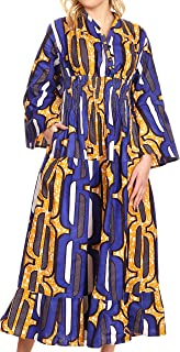 Paola Women's Maxi Long African Print Dress Evening Casual with Pockets