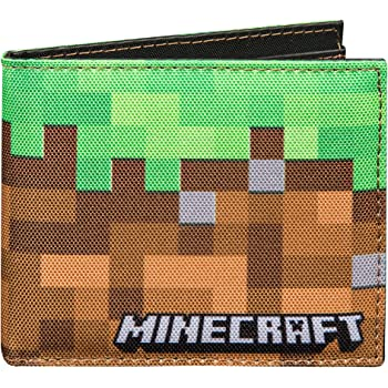 JINX Minecraft Dirt Block Nylon Bi-Fold Wallet, Multi-Colored, One Size