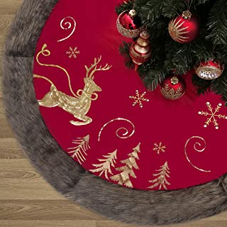 Valery Madelyn 48 inch Luxury Red Gold Velvet Christmas Tree Skirt with Sequin Reindeer and Faux Fur Trim, Themed with Christmas Ornaments (Not Included)