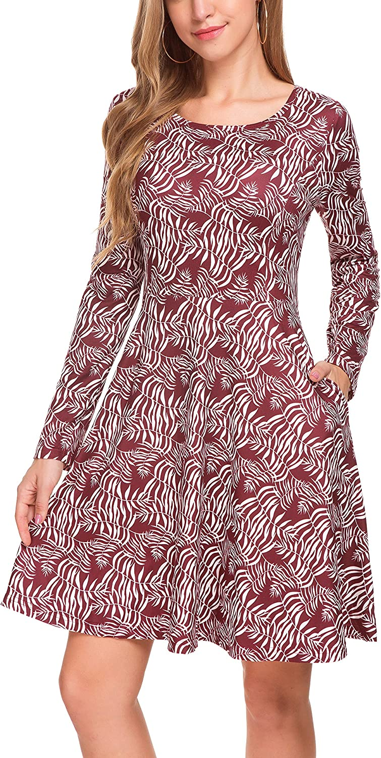 Derminpro Women Casual Floral Dress Long Sleeve with Two Side Pockets