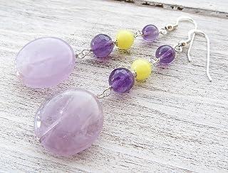 Orecchini con ametista viola e giada gialla, pendenti in argento 925, gioielli con pietre dure, bijoux personalizzati, reg...