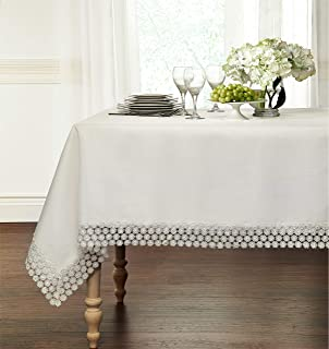 """GoodGram Ultra Luxurious Textured Macrame Trim Fabric Tablecloth Assorted Sizes & Colors - White, 60"""" x 120"""" Rectangle (10-12 Chair)"""