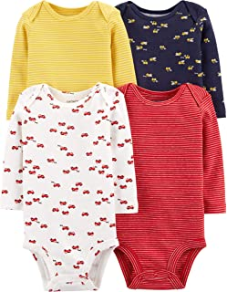 Carter's Baby 4 Pack Long Sleeve Bodysuit Set, Construction/Firetruck, 24 Months
