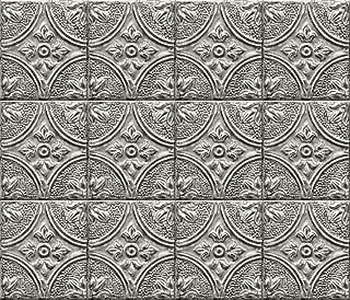 Brewster BHF2774 Silver Faux Tin Tile Peel and Stick Backsplash, Metallic