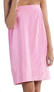 BY LORA Terry Spa Wrap for Women, Cotton Bath Cover Up Towel, Pink, One Size