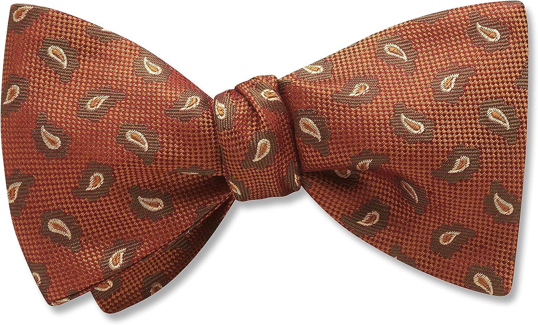 Chicago Orange Paisley, Men's Bow Tie, Handmade in the USA