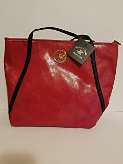 Beverly Hills Polo Club Womens Faux Leather Large Red Tote bag