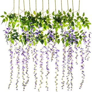 Miss Bloom Artificial Wisteria Vine - 12-Pack 3.6 Ft Spring Hanging Flowers Décor | Silk Plants Garlands for Sweet Home Kitchen Wall |Fake Plant Rattan for Outdoor Wedding Party Decorations (Purple)
