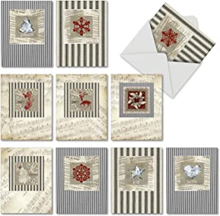 Boxed Set of 10 'Christmas Canvas' Holiday Greeting Cards - Stripes and Music Notes Christmas Cards 4 x 5.12 inch, Assorted Cream and Black Holiday Notecards with Envelopes M6658XSG
