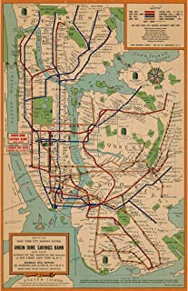 NYC Subway Map Historical Reproduction - Transportation System - Created by Union Dime Savings Bank in 1954 - Made to Order - 24