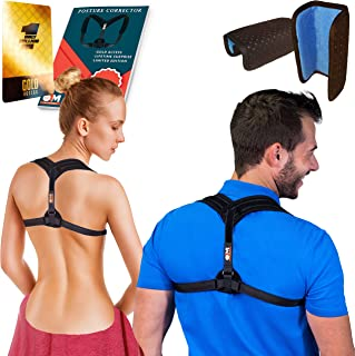 Back Straightener Posture Corrector for Women & Men + Double Detachable Pads, Relieves Shoulders Pain, Corrects Slouching, Hunching & Bad Posture, Posture Brace for Women and Men, Chest (Black)