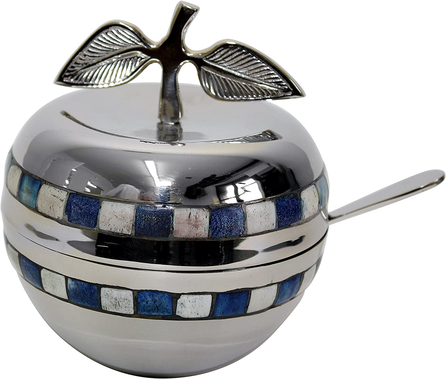 Majestic Giftware HD510 Honey Dish with bluee White Stone and Glass Insert, 5-Inch, Nickel