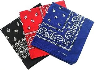 12 Pack(one Dozen) Multi-Purpose Cotton Paisley Cowboy Bandanas Headband for Men and Women