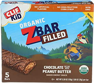CLIF KID ZBAR FILLED - Organic Granola Bars - Double Peanut Butter - (1.06 Ounce Lunch Box Snacks, 5 Count)