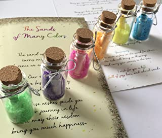 Smiling Wisdom - Sands of Many Colors Wisdom Wishes Gift Set - 6 Bottles with Colored Sand & Message - Greeting Card - Heartfelt Edition - Teen Son Daughter from Mom or Dad, Grad