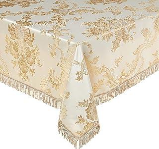 """Violet Linen Majestic Damask Design Oblong/Rectangle Tablecloth, 60"""" x 102"""", Beige"""