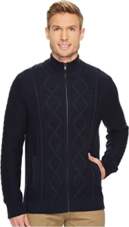 Nautica - 7 Gauge Full Zip Mock Neck Sweater