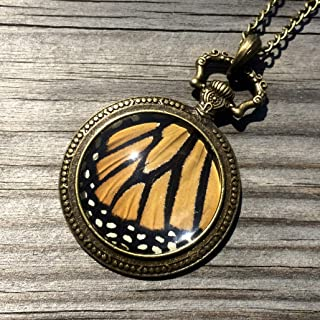 Real Monarch Butterfly Wing Necklace Steampunk Pocket Watch Pendant Framed Insect Taxidermy jewelry Danaus Plexippus